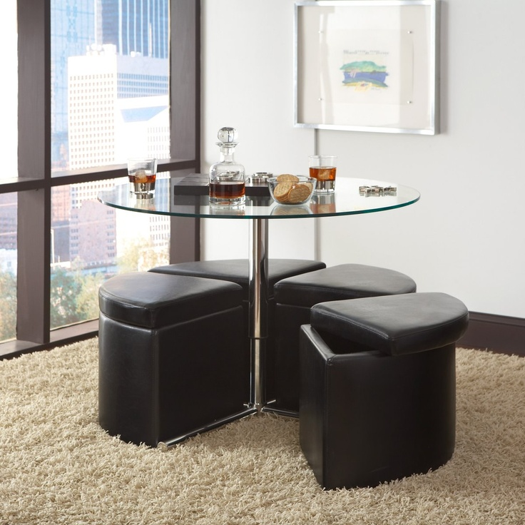 Glass Top Coffee Table With 4 Storage Ottomans Coffee Tables At