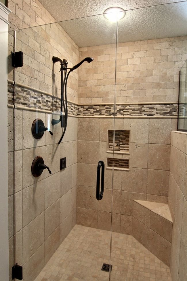 Beautiful walk in shower bathrooms pinterest Bathroom tile showers