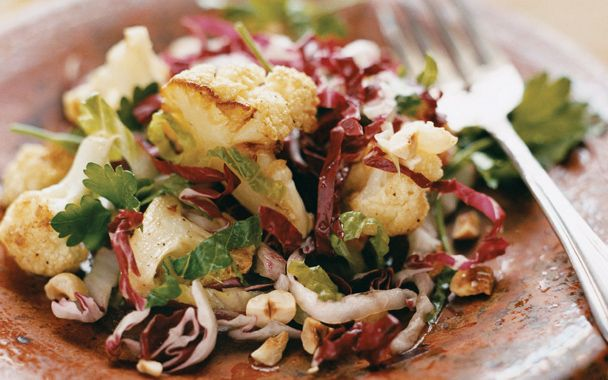 Roasted Cauliflower, Romaine, and Radicchio Salad