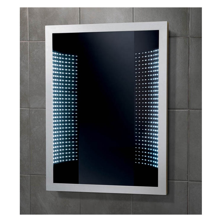 futuristic looking mirrors with led lights behind the glass