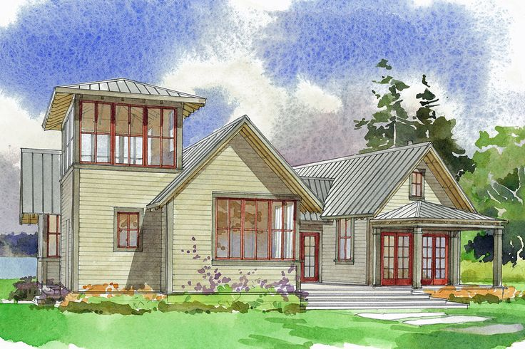 Plan 479 11 with tower loft house plans pinterest for Lookout tower house plans