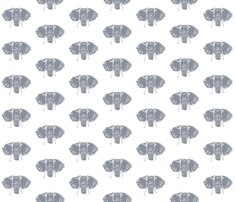 Grey Elephant fabric by sweetselections on Spoonflower - custom fabric