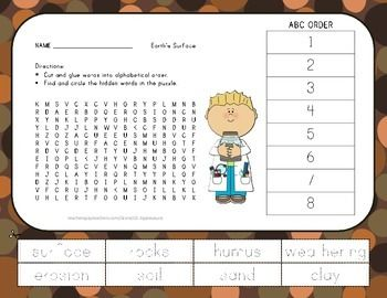 Rocks and soil vocabulary word search wih abc order for Words for soil
