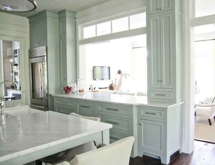 Green kitchen  like the seafoam green on the cabinets