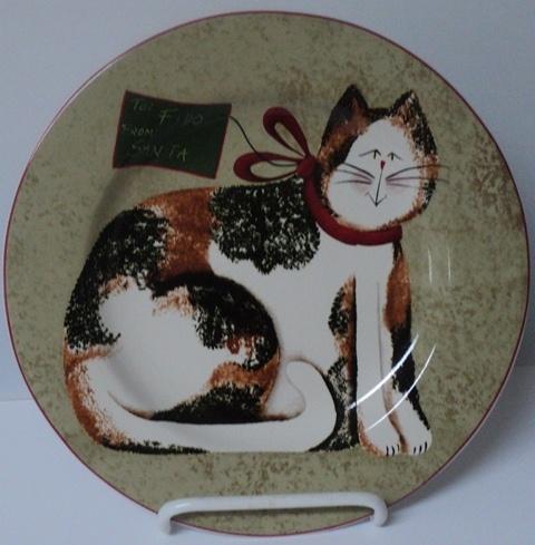 CHRISTMAS CATS FIDDLESTIX Sakura Fido From Santa Holiday Salad Plate