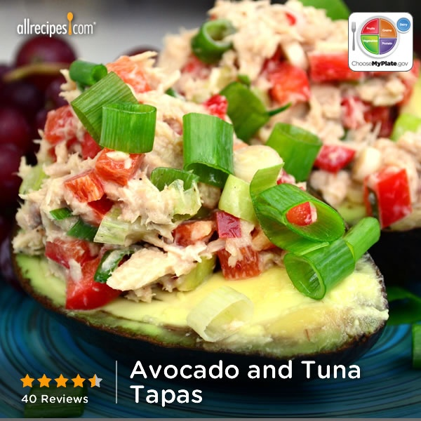 Avocado and Tuna Tapas from Allrecipes.com #myplate #protein #veggies