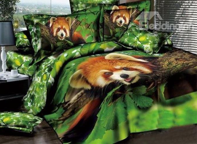 Cute little red panda lying tree print 3d duvet cover sets