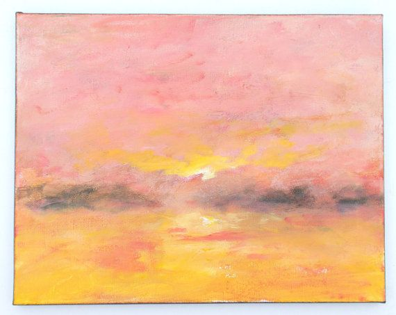 Serene impressionist landscape painting, sunset with misty ...