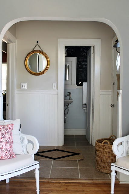 Hallway-Paint Brand/ Color: Behr's Sandstone Cove & Polar Bear White