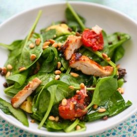 Miso Chicken and Spinach Salad