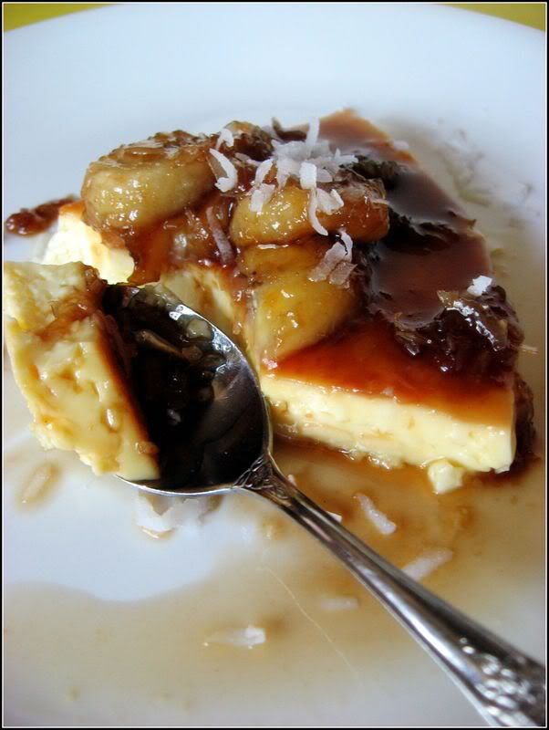 Caramel-Topped Flan with Dark Rum-Roasted Bananas and Coconut