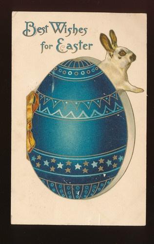 BUNNY RABBIT~IN BIG BLUE EGG~ Antique Easter Postcard-NISTER-ddd727