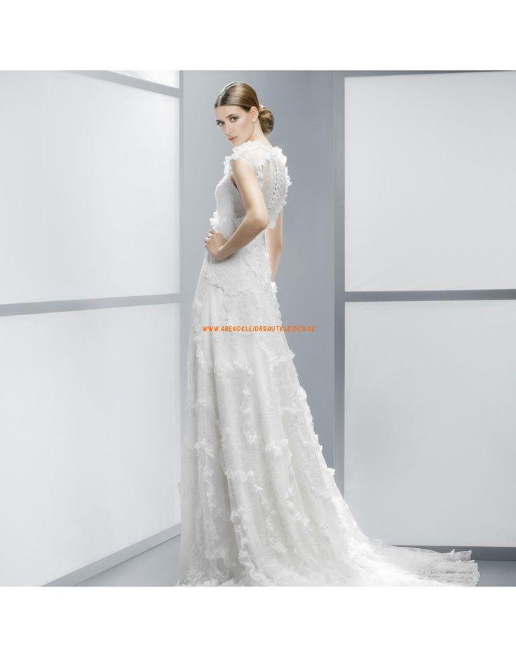 Elegante Rund-Ausschnitt Hochzeitskleider aus Spitze Vestidos de novia ...