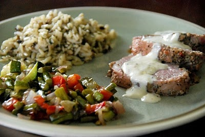 Jennie's yummy pork loin with mustard cream sauce and roasted veggies from Hungry Mommas