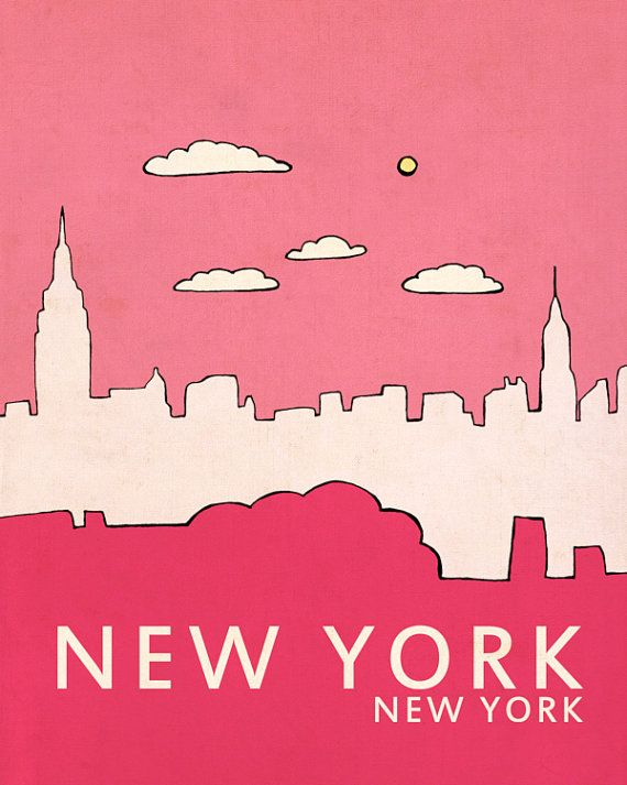New york typographic print art poster print city par lisabarbero