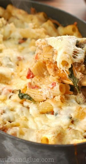 Baked Pasta with Sausage, Mushroom, and Spinach