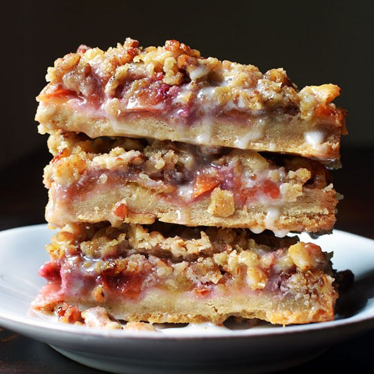 Peach & Pecan Oat Crumble Bars Recipe | Good Eats | Pinterest