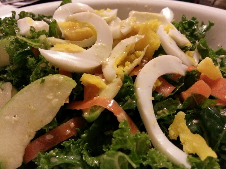 kale & carrot salad with a honey mustard, lemon, & sesame dressing ...