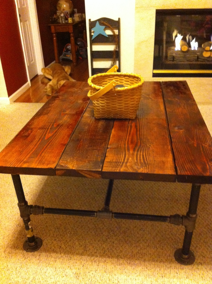 Homemade Coffee Table Made From Stained Wood And Pipe Man Cave Ideas Pinterest