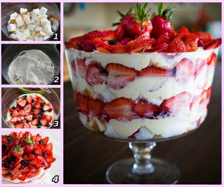 Mixed berry angelfood trifle | Recipes | Pinterest