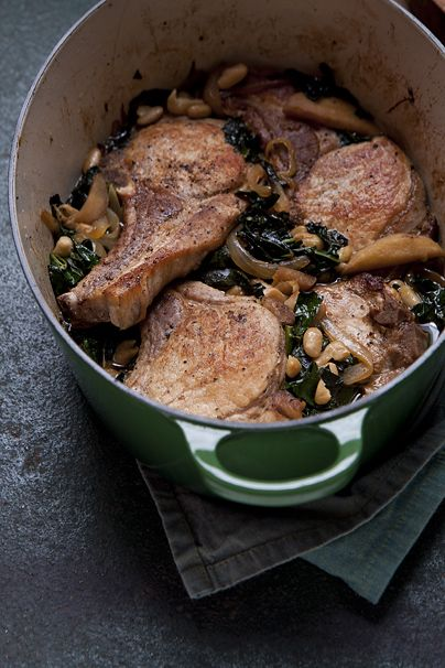 ... - Recipe: Oven-Roasted Pork Chops with Apple, Kale and White Beans