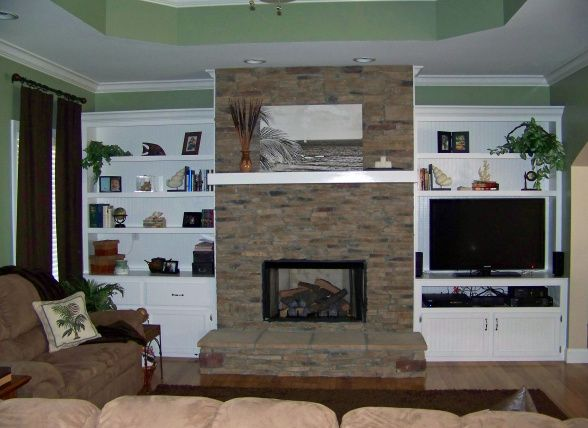 Stacked Stone Fireplace With Built Ins Living Family Rooms Pinter