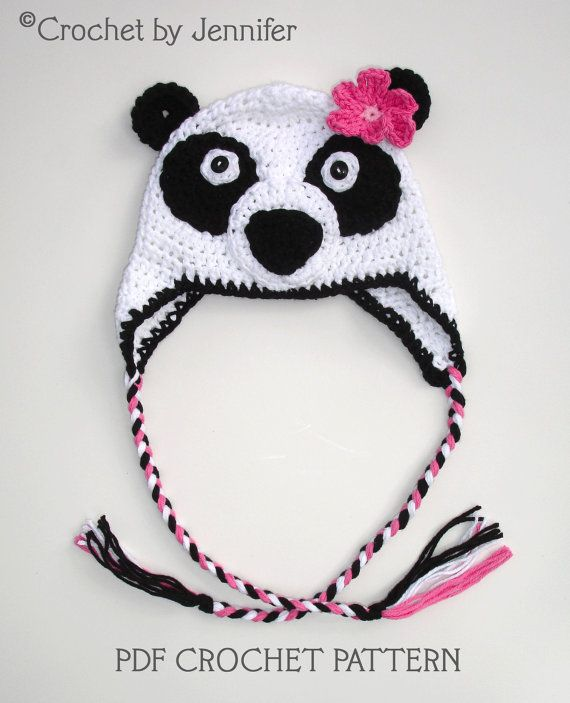 Crochet Pattern Panda Hat : Crochet Pattern for Panda Bear Hat - 5 sizes, baby to ...