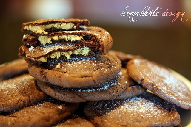 Peanut Butter wrapped in chocolate all put together in a cookie.