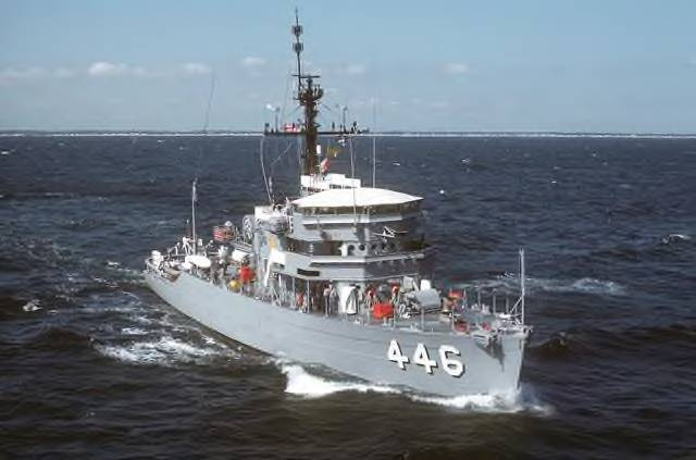 us navy ocean going mine sweeper uss fortify mso 446 in 1973 was home