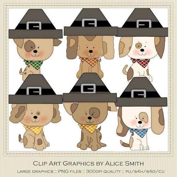 Puppy Dog Thanksgiving Clip Art Graphics by by marlodeedesigns, $1.35
