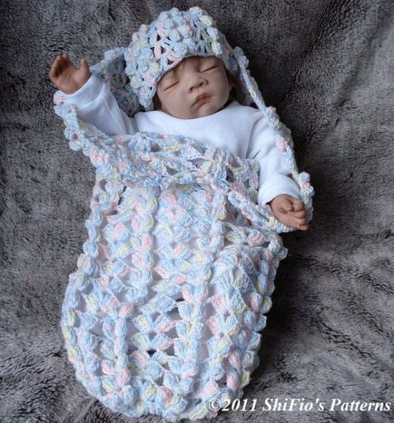 Crochet Baby Papoose Pattern Free : Baby Crochet Pattern Cocoon, Papoose, Hat Crochet Pattern ...