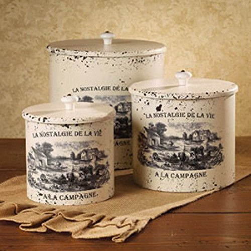 New French Country Farmhouse Chic Shabby 3 White Canister ...