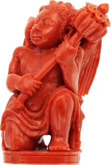 Резные Coral Херувим статуэтка.  ...