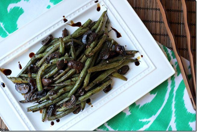 Balsamic-Dijon Roasted Green Beans & Mushrooms | From the Little ...