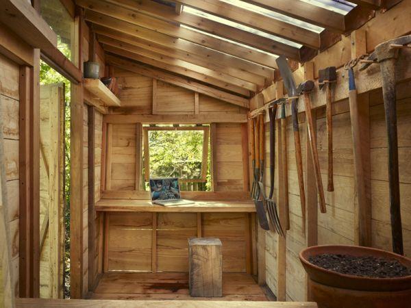 Interior shed potting shed pinterest for Garden sheds interior designs