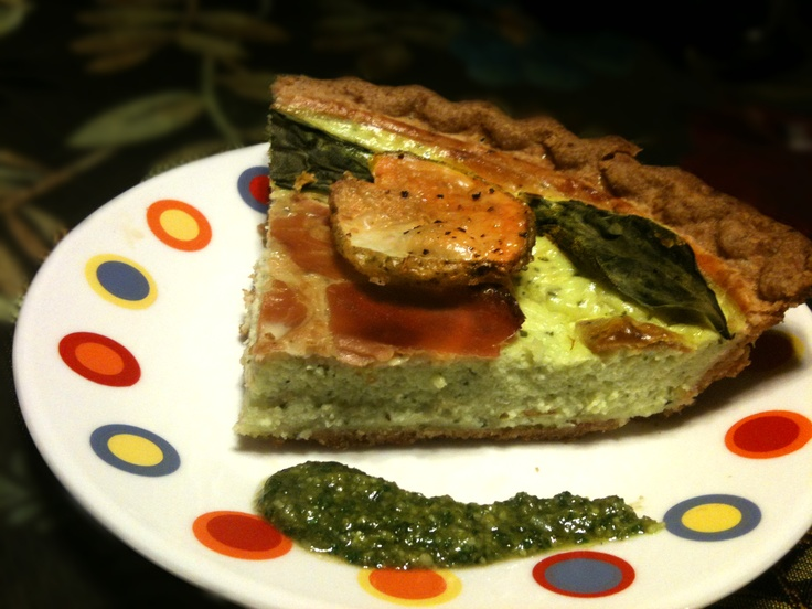 ... Pesto, 2 eggs, 2 egg whites In a ready made pie crust covered with 3