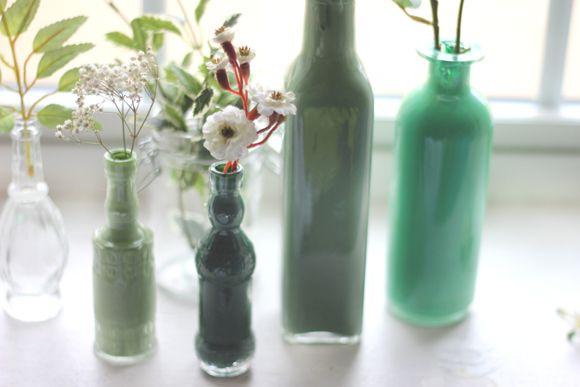 Decor diy painted glass bottles