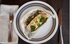 Wild Salmon and Spinach in Parchment | Recipes | Pinterest