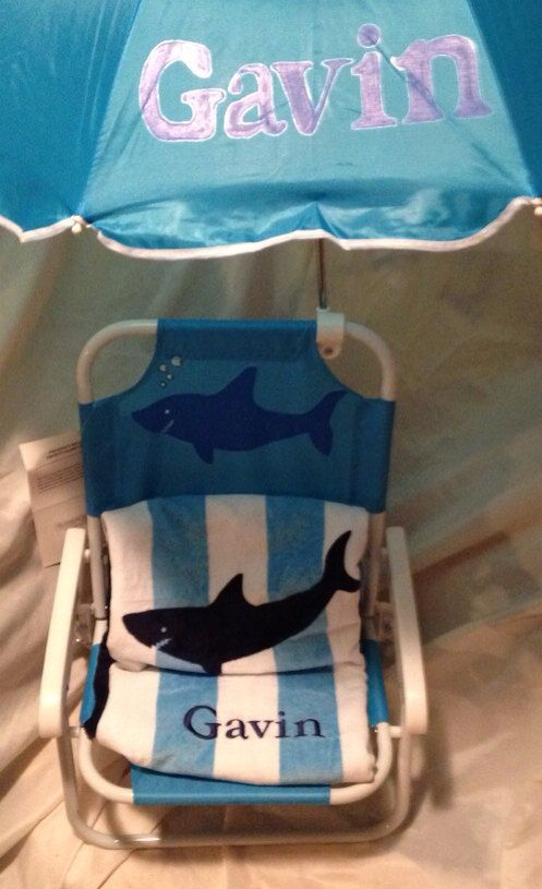Personalized kids beach chair with umbrella for Monogrammed kids chair