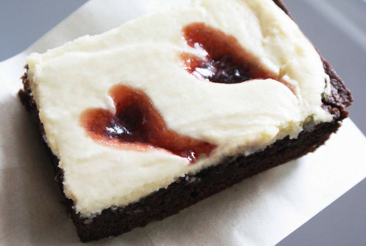 Chocolate Cheesecake Brownies with Raspberry Hearts