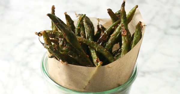 Parmesan Cheese oven-baked green bean 'fries'...because cooking them ...