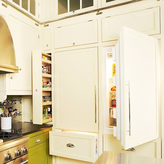 Kitchen Cabinets Around Fridge: Concealed Refrigerators