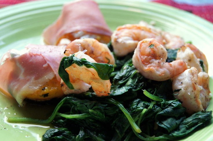 prosciutto, lime cilantro ginger marinated grilled shrimp over wilted ...