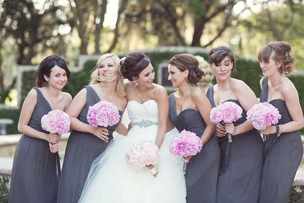 It's like this girl got in my head and planned my wedding for me - gray bridesmaids, pink peonies.  LOVE