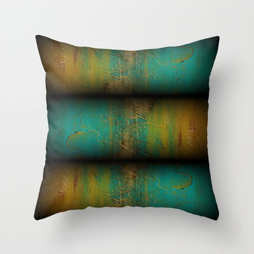 Modern Teal Decorative Throw Pillow : Teal and Gold pillow - Modern Throw Pillow