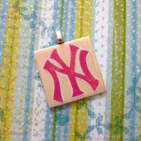 Wood Image Transfer Necklace Pendant Pink NY by Stephsjewels4ella, $8