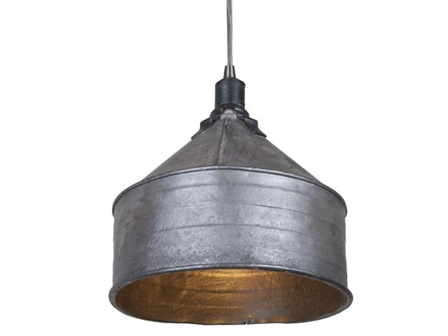 refinished vintage galvanized tractor funnel pendant light. Black Bedroom Furniture Sets. Home Design Ideas