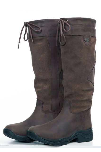 Wonderful Hkm Country Riding Boots Women Long Suede Horse Walking Leather Size 6