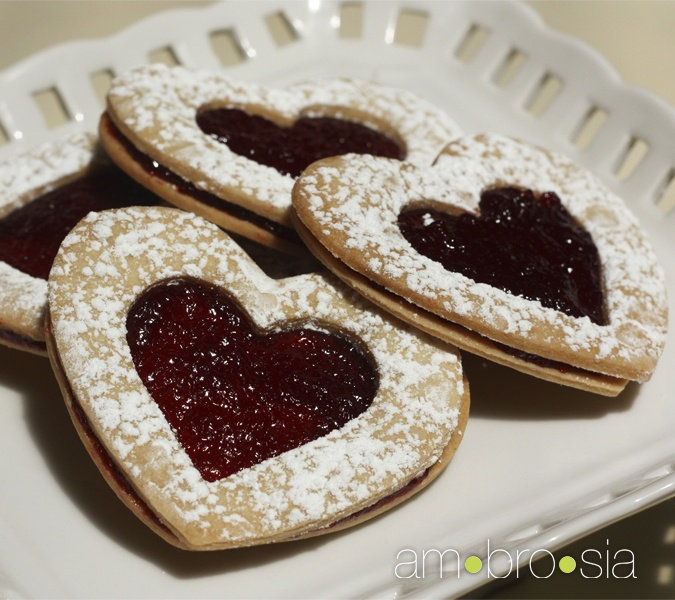 Shortbread Hearts with Raspberry Jam | Cookie Recipes | Pinterest
