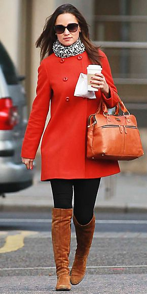 Pippa Middleton in a red Zara coat, knee-high suede boots, a tan Modalu bag and a leopard print Temperley scarf